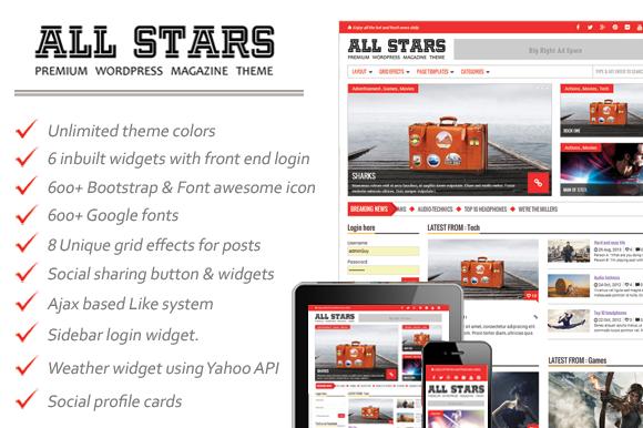 ALL STARS Premium Magazine Theme