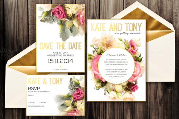 Blush Wedding Invitation Pack PSD