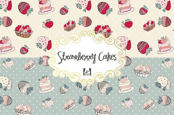 Strawberry Cake Vector Patterns