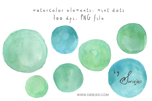Watercolor Dots Mint Bubbles