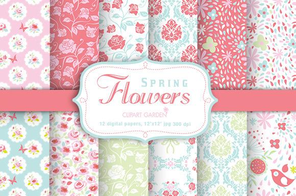 Spring Flower Digital Papers Pack