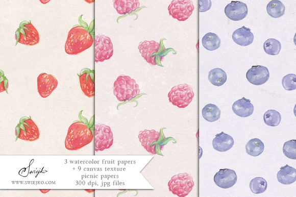 Watercolor Paper Fruits