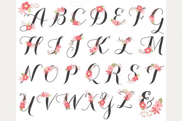 Floral Alphabet Monogram