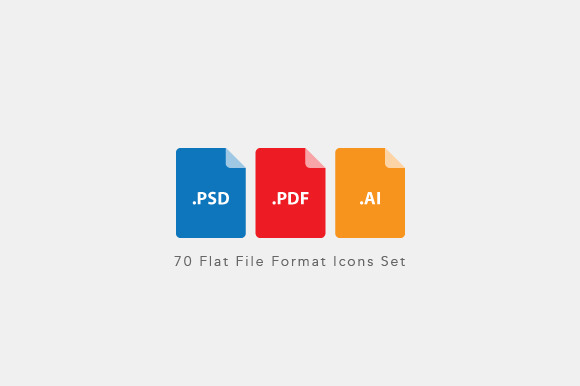 Flat File Format Icons Set Vector