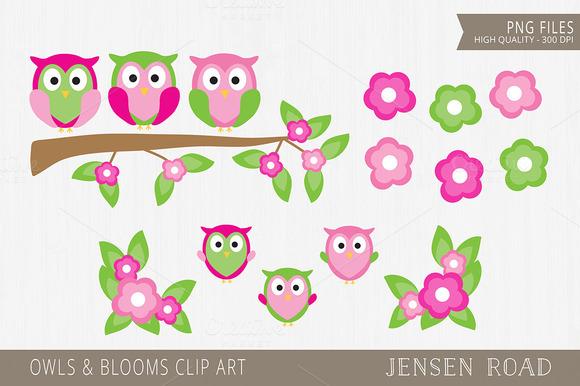 Owls Blooms Clip Art