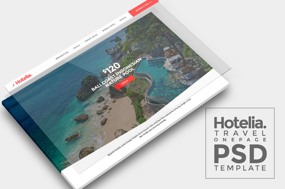 Hotelia Travel Onepage PSD Template