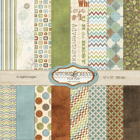 For Him Digital Paper Pack-16