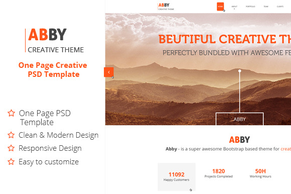 ABBY One Page Creative PSD Theme