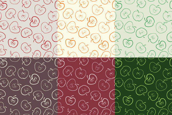Set Of 6 Apple Seamless Patterns