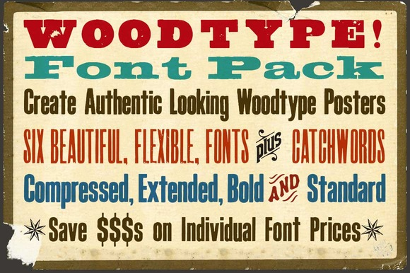 Woodtype Font Pack