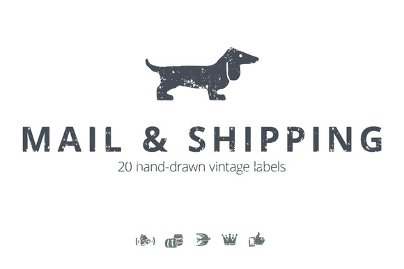 20 Mail Shipping Vintage Labels