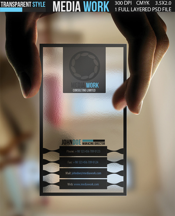 Media Work Transparent Business Card