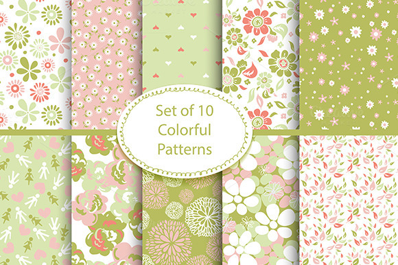 Set Of 10 Seamless Floral Patterns