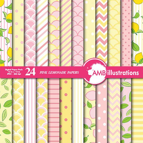 Pink Lemonade Digital Papers AMB-486