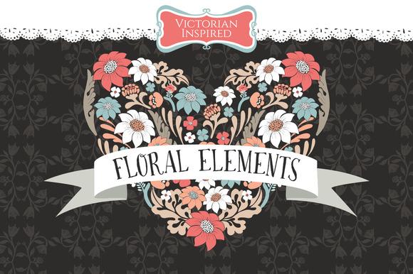 Floral Wreaths Chalkboard Victorian