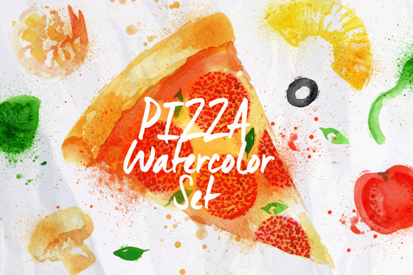 Pizza Watercolor Set