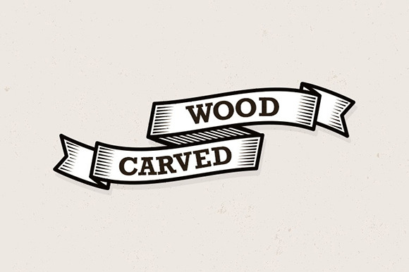 Wood Carved Banner Illustrations