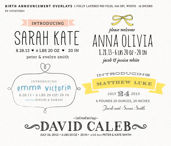 Birth Announcement Overlays Set 1