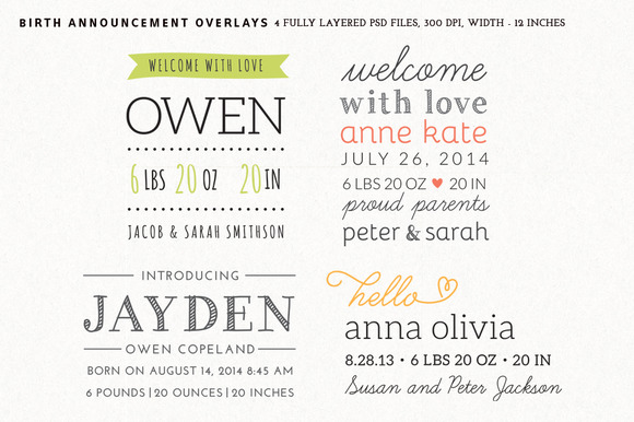 Birth Announcement Overlays Set 2