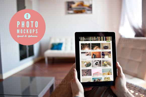 8 Photo Mockups- 5x IPad 3x IPhone