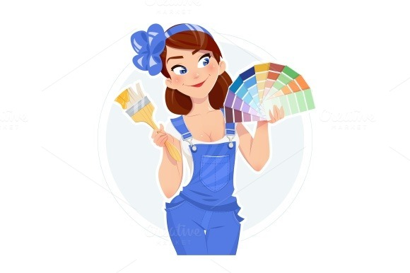 Beautiful Girl With Paint Brush And Color Swatches