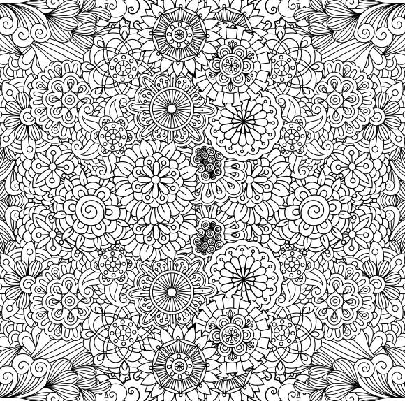 Floral Circular Seamless Pattern Set