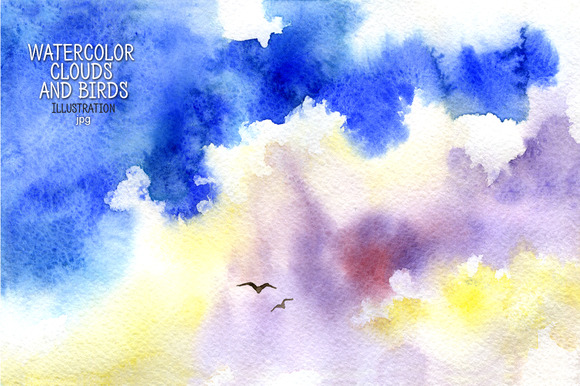 Watercolor Clouds And Birds