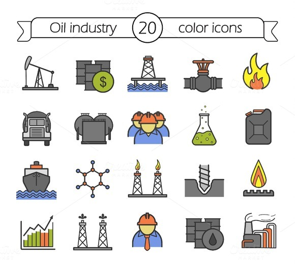 Oil Industry 20 Color Icons Vector