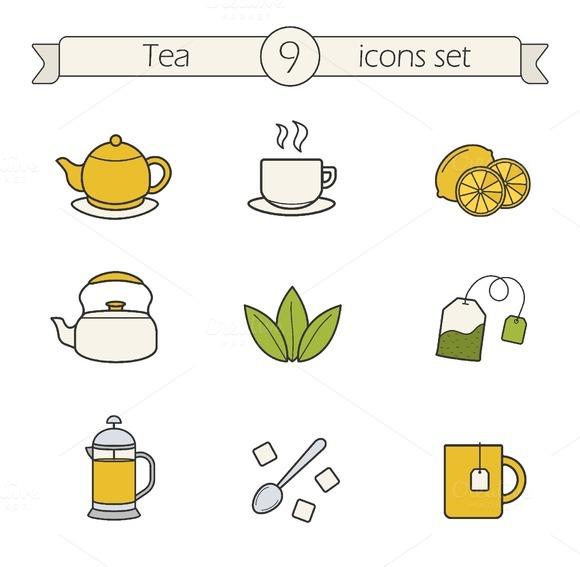 Tea 9 Color Icons Vector