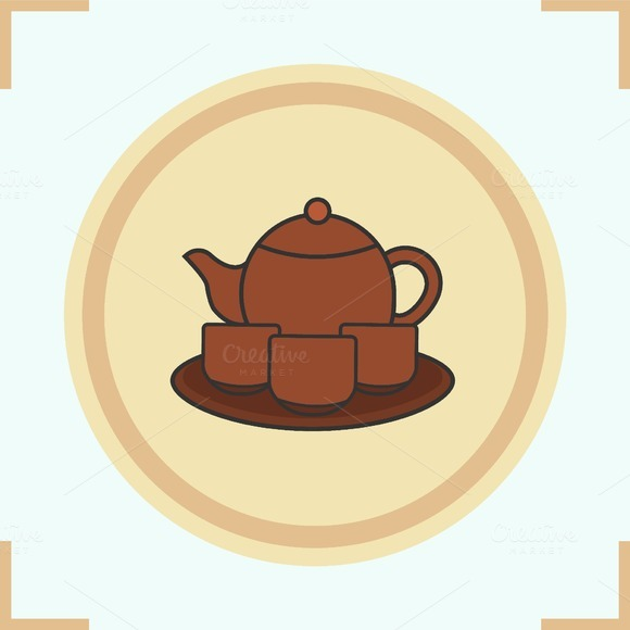 Tea Set Color Icon Vector