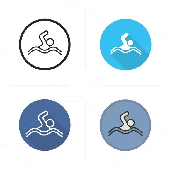 Swimmer 4 Icons Vector