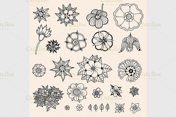 Set Of Sketched Flowers