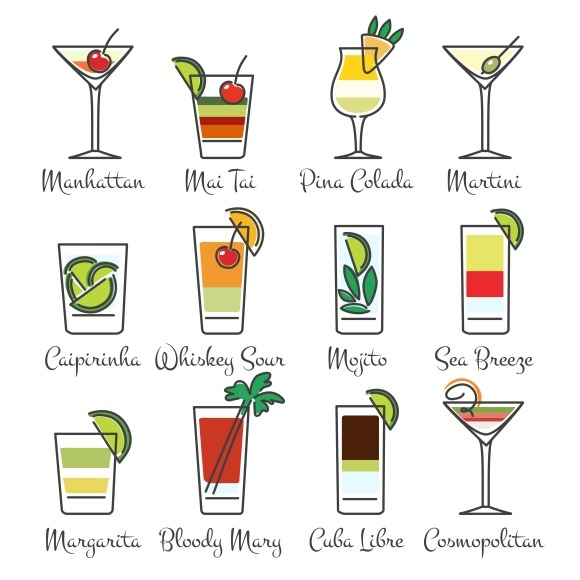 Alcohol Cocktails Linear Icons