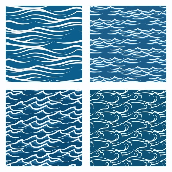 Seamless Blue Waves Pattern Set