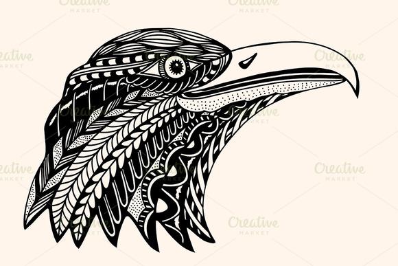 Hand Drawn Head Of Eagle