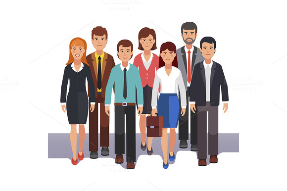 Team Of Business Men And Women