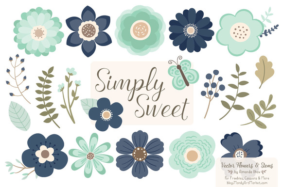 Navy Mint Flowers Clipart