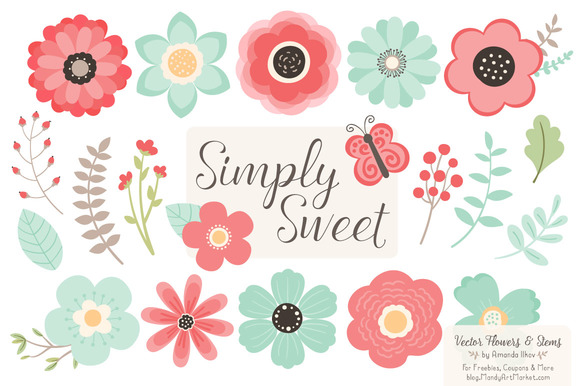 Mint Coral Flowers Clipart