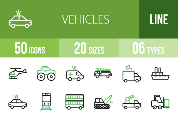 50 Vehicles Line Green Black Icons