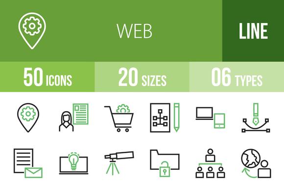 50 Web Line Green Black Icons