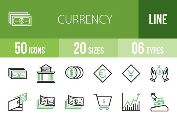 50 Currency Line Green Black Icons