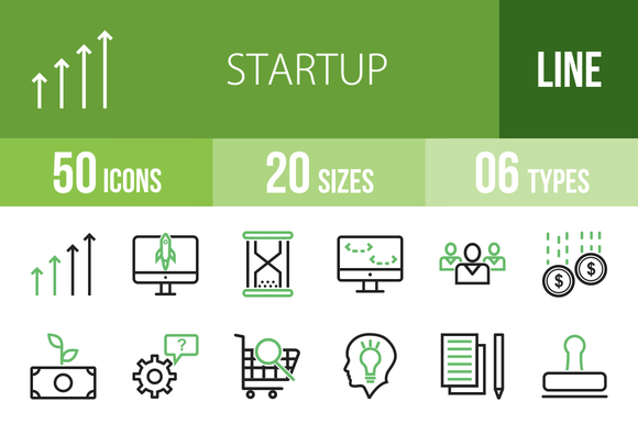 50 Startup Line Green Black Icons