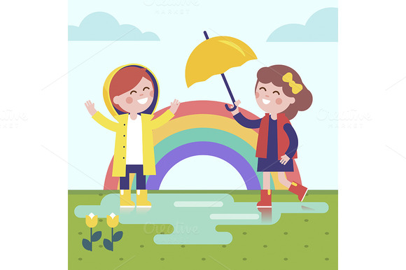 Two Girls Playing In The Rain
