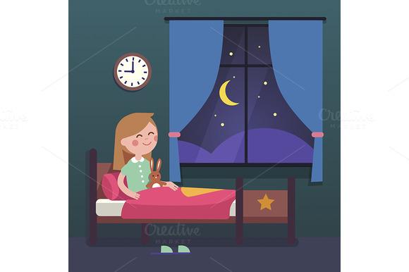 Girl Kid Preparing To Sleep