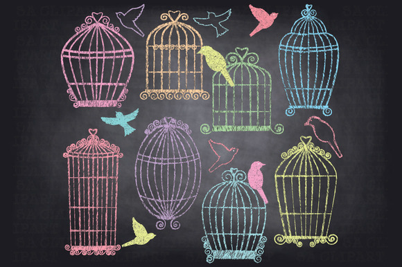 Chalkboard Birdcages ClipArt