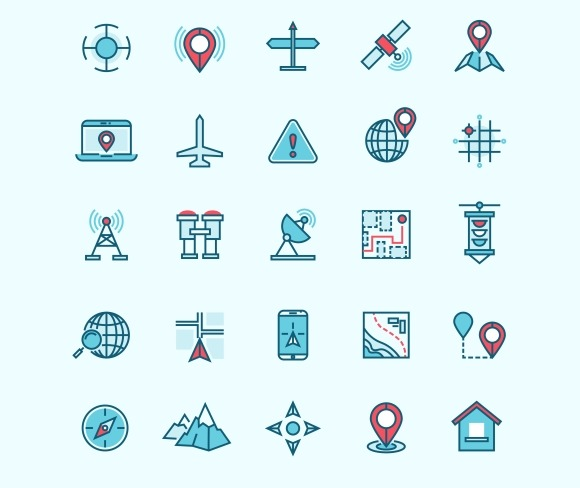 Maps And Location Flat Vector Icons