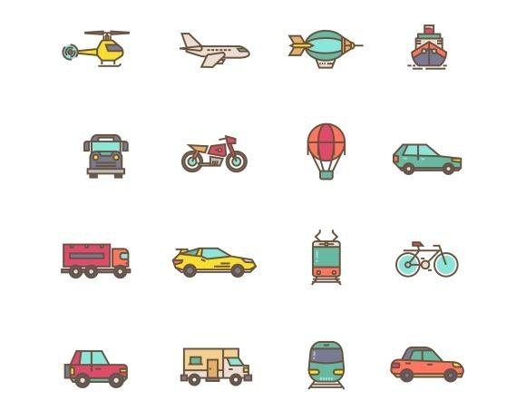 Transportation Flat Linear Icons
