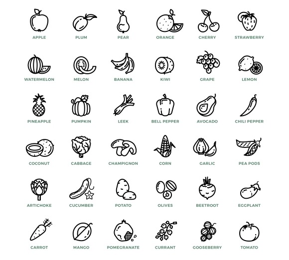 Line Drawing Zucchini : Fruit and vegetables line drawings designtube creative