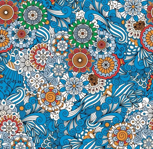 Blue Floral Seamless Patterns