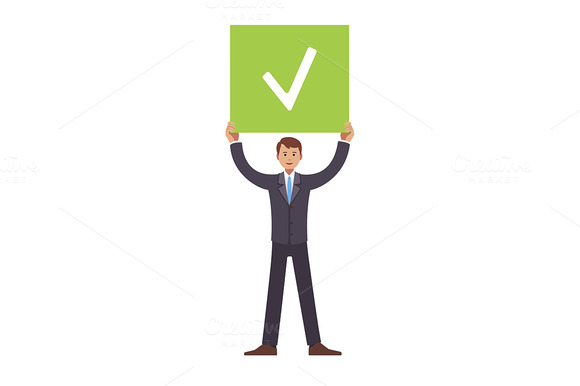 Businessman Holding Job Done Sign